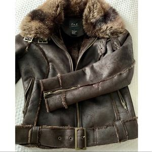 O&G Faux Cracked Leather Jacket with faux fur trim